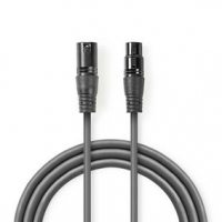 Vyvážený Audio kabel | XLR 3pinový Zástrčka | XLR 3pinová Zásuvka | Poniklované | 3.00 m | Kulatý | PVC | Tmavě Šedá | Karton