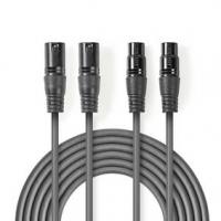 Vyvážený Audio kabel | 2x XLR 3pinový Zástrčka | 2x XLR 3pinová Zásuvka | Poniklované | 0.50 m | Kulatý | PVC | Tmavě Šedá | Kar