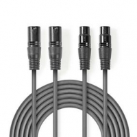Vyvážený Audio kabel | 2x XLR 3pinový Zástrčka | 2x XLR 3pinová Zásuvka | Poniklované | 1.50 m | Kulatý | PVC | Tmavě Šedá | Kar