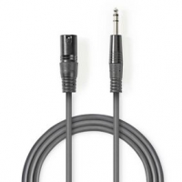 Vyvážený Audio kabel | XLR 3pinový Zástrčka | Muž 6,35 mm | Poniklované | 1.50 m | Kulatý | PVC | Tmavě Šedá | Karton