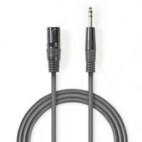 Vyvážený Audio kabel | XLR 3pinový Zástrčka | Muž 6,35 mm | Poniklované | 3.00 m | Kulatý | PVC | Tmavě Šedá | Karton