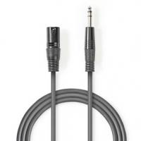 Vyvážený Audio kabel | XLR 3pinový Zástrčka | Muž 6,35 mm | Poniklované | 5.00 m | Kulatý | PVC | Tmavě Šedá | Karton