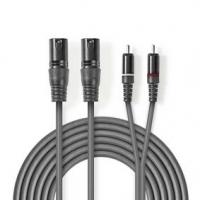 Vyvážený Audio kabel | 2x XLR 3pinový Zástrčka | 2x RCA Zástrčka | Poniklované | 1.50 m | Kulatý | PVC | Tmavě Šedá | Karton