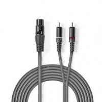 Vyvážený Audio kabel   XLR 3pinová Zásuvka   2x RCA Zástrčka   Poniklované   3.00 m   Kulatý   PVC   Tmavě Šedá   Karton