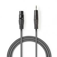 Vyvážený Audio kabel   XLR 3pinový Zástrčka   3,5 mm Zástrčka   Poniklované   1.50 m   Kulatý   PVC   Tmavě Šedá   Karton