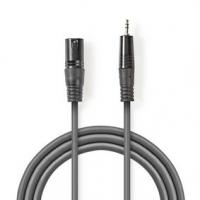 Vyvážený Audio kabel | XLR 3pinový Zástrčka | 3,5 mm Zástrčka | Poniklované | 3.00 m | Kulatý | PVC | Tmavě Šedá | Karton