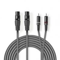 Vyvážený Audio kabel | 2x XLR 3pinová Zásuvka | 2x RCA Zástrčka | Poniklované | 3.00 m | Kulatý | PVC | Tmavě Šedá | Karton
