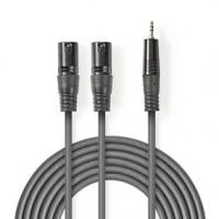 Vyvážený Audio kabel | 2x XLR 3pinový Zástrčka | 3,5 mm Zástrčka | Poniklované | 1.50 m | Kulatý | PVC | Tmavě Šedá | Karton