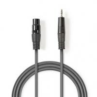 Vyvážený Audio kabel | XLR 3pinová Zásuvka | 3,5 mm Zástrčka | Poniklované | 1.00 m | Kulatý | PVC | Tmavě Šedá | Karton