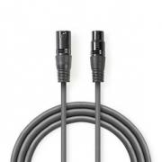 Digitální DMX Kabel 110 Ohmů | XLR 3pinová Zástrčka – XLR 3pinová Zásuvka | 3 m | Šedá barva