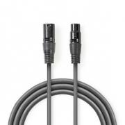 Digitální DMX Kabel 110 Ohmů | XLR 3pinová Zástrčka – XLR 3pinová Zásuvka | 15 m | Šedá barva