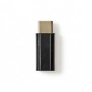 USB 2.0 Adaptér | Typ-C Zástrčka – Micro B Zásuvka | Černá barva