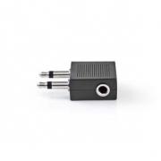 Audioadaptér do Letadla | 2x 3,5mm Zástrčka – 3,5mm Zásuvka | 10 kusů | Černá barva