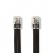 Telekomunikační Kabel   RJ12 (6P6C) Zástrčka – RJ12 (6P6C) Zástrčka   1 m   Černý