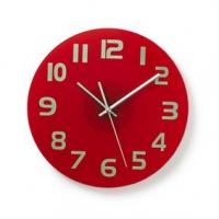 Nástěnné hodiny | Průměr: 300 mm | Sklo | Červená