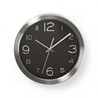 Nástěnné hodiny | Průměr: 300 mm | Nerezová Ocel | Černá / Stříbrná