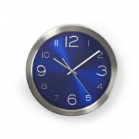 Nástěnné hodiny | Průměr: 300 mm | Nerezová Ocel | Modrá / Stříbrná