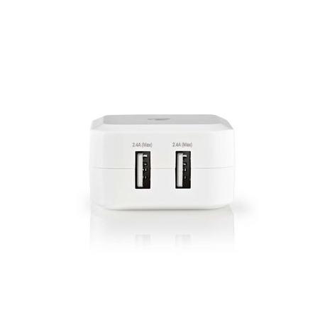 Síťová Nabíječka | 4.8 A | 2 výstupy | USB-A | Bílá barva