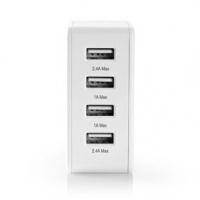 Síťová Nabíječka   Funkce rychlého nabíjení   2x 1.0 A / 2x 2.4 A   Počet výstupů: 4   4x USB-A   Kabel Není Součástí   24 W   J
