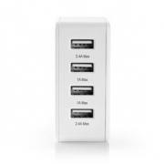 Síťová Nabíječka | 4.8 A | 4 výstupy | USB-A | Bílá barva