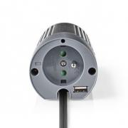 Měnič, Modifikovaná Sinusová Vlna | 12 V DC – 230 V AC | 100 W | 1x Zemnicí Kolík / 1x USB Výstup
