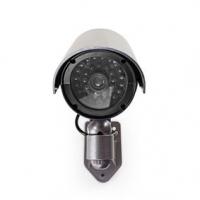 Atrapa bezpečnostní kamery | Válcová | IP44 | Napájení z baterie | Venkovní | Včetně držáku na zeď | Šedá
