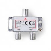 CATV F-Rozbočovač | Max. zisk 4,2 dB | 5–1 000 MHz | 2 Výstupy