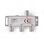 CATV F-Rozbočovač | Max. zisk 6,8 dB | 5–1 000 MHz | 3 Výstupy