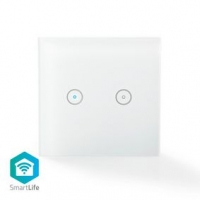 SmartLife nástěnný vypínač | Wi-Fi | Dvojitý | Nástěnný Držák | 86 mm | 86 mm | 1000 W | Android™ & iOS | Sklo | Bílá