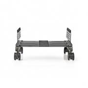 Ergonomic Desktop Stand   Adjustable Width   4 Caster Wheels   Black