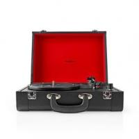 Gramofon | 33 / 45 / 78 rpm | Řemenový pohon | 1x Stereo RCA | Bluetooth® | 18 W | Vestavěný (před) zesilovač | Kožený vzhled /