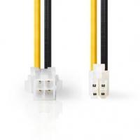 Interní Napájecí kabel | P4 Zástrčka | P4 Zásuvka | Pozlacené | 0.20 m | Kulatý | PVC | Černá / Žlutá | Plastový Sáček
