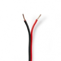 Repro kabel   2x 1.50 mm²   CCA   25.0 m   Kulatý   PVC   Černá / Červená   Zabaleno