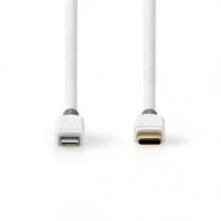USB kabel   USB 2.0   Apple Lightning 8pinový   USB Typ-C ™ Zástrčka   480 Mbps   Pozlacené   1.00 m   Kulatý   PVC   Bílá / Šed