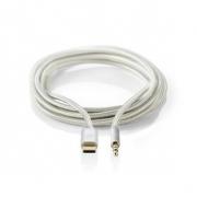 USB-C Sluchátkový Kabel s Adaptérem | USB-C Zástrčka – 3,5 mm Zástrčka | 1 m | Hliníkový