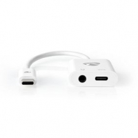 USB Adaptér | USB 3.1 | USB Typ-C ™ Zástrčka | USB Typ-C™ / 3,5 mm Zásuvka | 0.15 m | Kulatý | Poniklované | PVC | Bílá | Box s