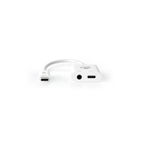 USB-C Adaptér | USB-C Zástrčka – 3,5 mm Zásuvka + USB-C Zásuvka | 0,15 m | Bílý