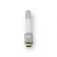 USB Adaptér | USB 2.0 | USB Typ-C ™ Zástrčka | 3,5 mm Zásuvka | 0.08 m | Kulatý | Pozlacené | Nylon / Opletený | Bílá / Stříbrná