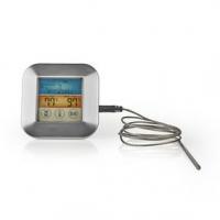 Maso Teploměr | časoměřič / Nastavení teploty / Poplach | Barevný LCD Displej | 0 - 250 °C | Bílá / Stříbrná