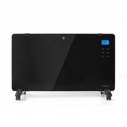Glass Panel Convection Heater | Thermostat | LCD Display | 2 Heat Settings | Standing / Wall Mountable | 2000 W | Black