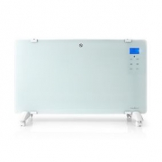 Glass Panel Convection Heater | Thermostat | LCD Display | 2 Heat Settings | Standing / Wall Mountable | 2000 W | White