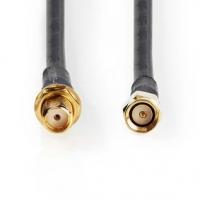 Anténní kabel | SMA zástrčka | SMA zásuvka | Pozlacené | 50 Ohm | Dvojité Stínění | 10.0 m | Kulatý | PVC | Černá | Plastový Sáč