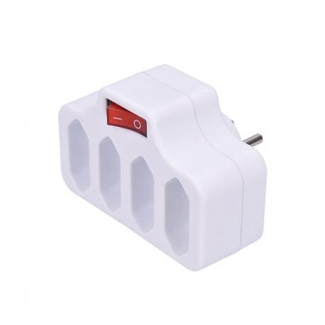 Zásuvka rozbočovací SOLIGHT 4 x 2,5A, bílá, vypínač P84