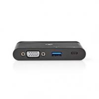 USB Adaptér | USB 3.1 | USB Typ-C ™ Zásuvka | USB Typ-A / USB Typ-C™ / 1x VGA | Poniklované | Černá | Box s Okénkem a eurozávěse