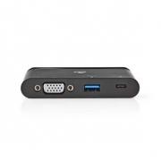 Počítačový Rozbočovač | USB Type-C | USB-C / USB 3.0 / VGA | Power Delivery: 100 W | Černá barva