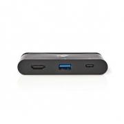 Počítačový Rozbočovač | USB Type-C | USB-C / USB 3.0 / HDMI | Power Delivery: 100 W | Černá barva