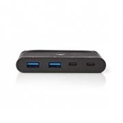 Počítačový Rozbočovač | USB Type-C | 2x USB-C / 2x USB 3.0 (10 G) | Power Delivery: 100 W | Černá barva