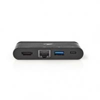 USB Adaptér | USB 3.1 | USB Typ-C™ | USB Typ-A / USB Typ-C™ / 1x HDMI® / 1x RJ45 | Poniklované | Černá | Box s Okénkem a eurozáv