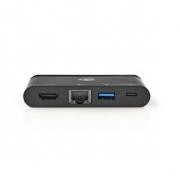 Počítačový Rozbočovač | USB Type-C | USB-C / USB 3.0 / HDMI / Gigabitový Port Ethernet | Power Delivery: 100 W | Černá barva