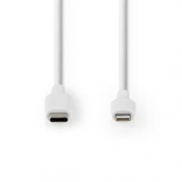 USB kabel | USB 2.0 | Apple Lightning 8pinový | USB Typ-C ™ Zástrčka | 480 Mbps | 60 W | Poniklované | 1.00 m | Kulatý | PVC | B